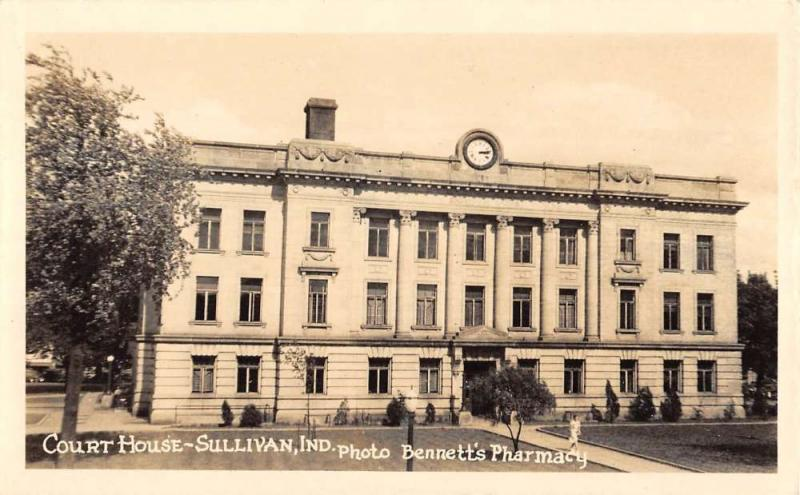 Sullivan Indiana Court House Real Photo Antique Postcard K101407