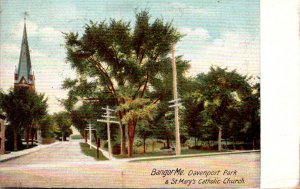 Maine Bangor Davenport Park & St Mary's Catholic Church 1906