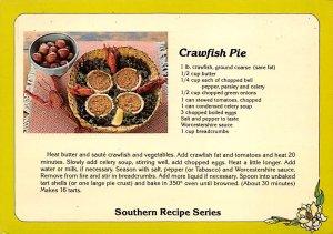 Southern Recipe Series Crawfish Pie Postcard Unused