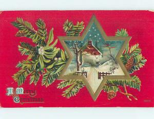 Pre-Linen christmas WINTER SCENE IN STAR WITH PINE BRANCH AND MISTLETOE HQ6452