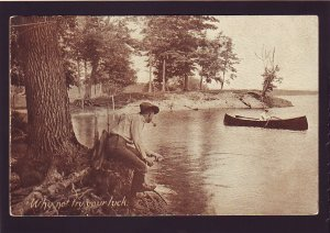 P1562 old unused postcard fishing canoe etc try your luck lake champlain vermont