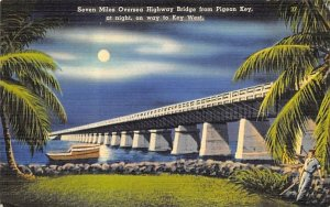 Highway Bridge from Pigeon Key, at night Misc, Florida