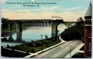 Philadelphia PA Postcard East River Drive & P.R.R. Bridge, Fairmount Park 1912