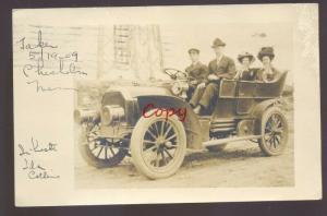 RPPC CHISHOLM MINNESOTA ANTIQUE BRASS ERA AUTOMOBILE CAR REAL PHOTO POSTCARD