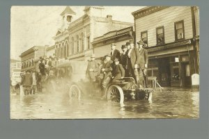 Watsonville CALIFORNIA RP 1914 FLOODING Main Street FLOOD Trucks Cars People #2