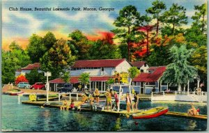 1940s Macon, Georgia Postcard Club House, Beautiful Lakeside Park Linen Unused