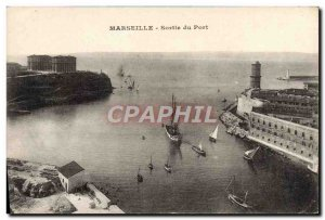 Old Postcard Marseille Exit From Boat Harbor