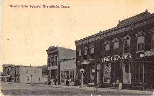 Greenfield Iowa South Side Square General View Antique Postcard V15887