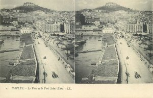 Postcard Italy stereographic image Naples Fort Saint Elme