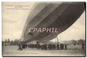 Postcard Old German Airship Zeppelin Luneville Dirigeale lands on the ground ...
