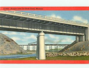 Cut Bank Creek Montana C-2605 Bridge railroad Bridge Mile Long  Postcard # 6312