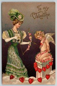 Victorian Valentine~Elegant Lady Take Bow & Arrow Aim~Captive Cupid~1909 Germany