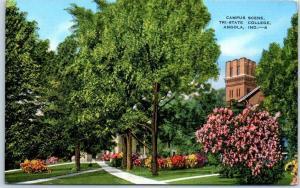 Angola, Indiana Postcard Campus Scene, TRI-STATE COLLEGE Kropp Linen c1940s