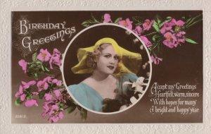 Crazy Edwardian Ghastly Yellow Old Hat Fashion Greeting Postcard