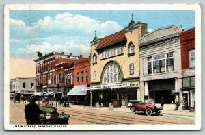 Parsons Kansas~Main Street~Kimball Hotel~Star Clothing~Theatre~Bank~1916