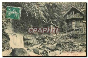 Old Postcard Luchon Cottages and waterfall Sourbouille