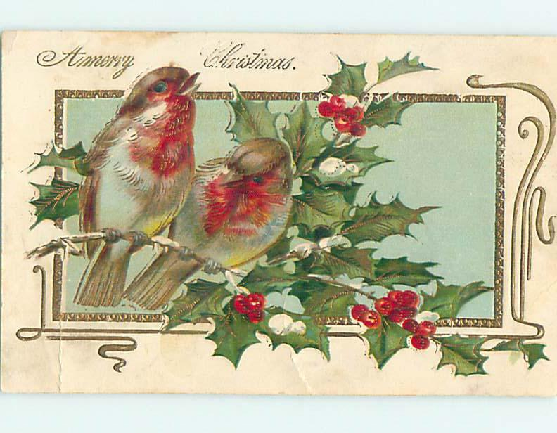 Pre-Linen christmas BEAUTIFUL BIRDS SITTING ON HOLLY BRANCH hr2696