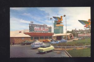 LAS VEGAS NEVADA THUNDERBIRD MOTEL 1950's CARS NASH ADVERTISING POSTCARD