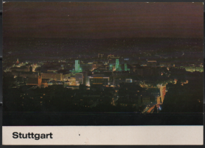 Post Card Stuttgart Germany  at night