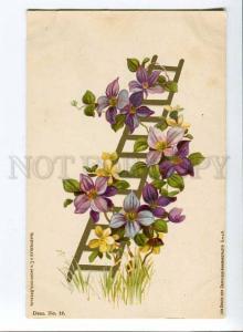 256925 C. KLEIN Ladder FLOWERS Vintage LITHO postcard