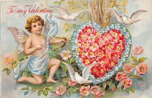 E2/ Valentine's Day Love Holiday Postcard c1910 Bow Arrow Cupid Flower Heart 17