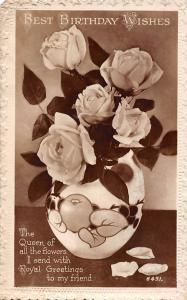Best Birthday Wishes, Queen of all flowers, Royal Greetings, Roses, Art 1934