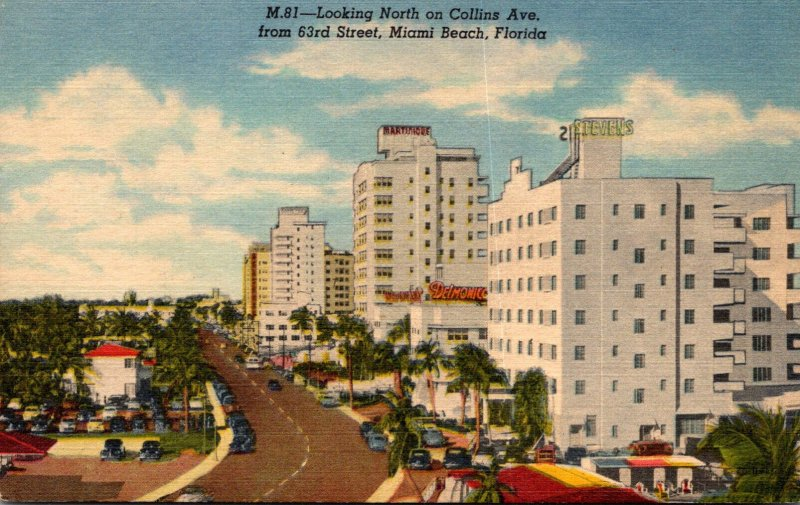 Florida Miami Beach Looking North On Collins Avenue From 63rd Street 1953 Cur...