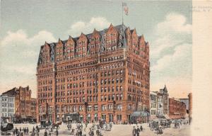 Buffalo New York~Hotel Iroquois~Horse & Buggy~Busy Street Scene~c1910 Postcard