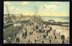 Asbury Park, New Jersey/NJ Postcard, Boardwalk, 1910!