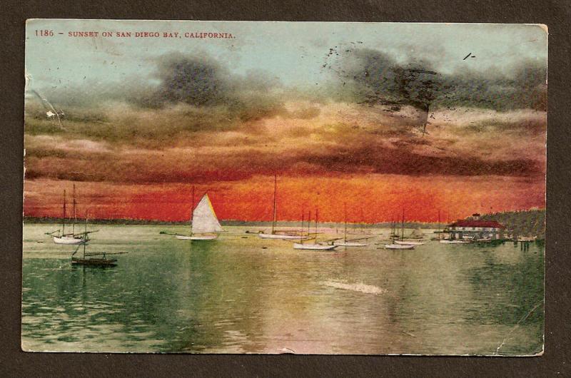 Sunset on San Diego Bay, CA - Nice Flag Cancel 1909