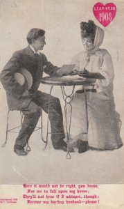 LEAP YEAR, PU-1908; Couple sitting at table, Woman proposing