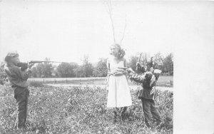F71/ Interesting RPPC Postcard Kid Nativer American Indian Rifle Girl 4