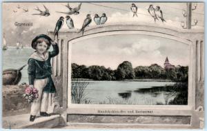GRUNEWALD Berlin GERMANY Child Window HUNDEKEHLENSEE & RESTAURANT 1910s Postcard