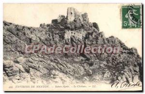 Postcard Old AROUND Menton Sainte Agnes Le Chateau