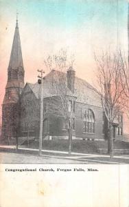 Fergus Falls Minnesota Congregational Church Street View Antique Postcard K51016