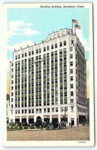 Postcard TX Beaumont Goodhue Building Vintage Linen B1