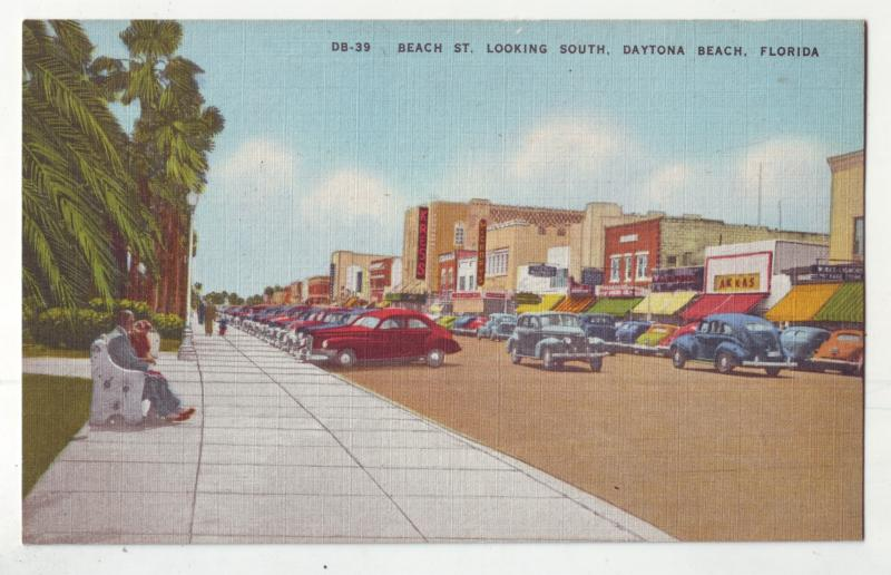 P990 old card many old cars beach st looking south daytona beach florida