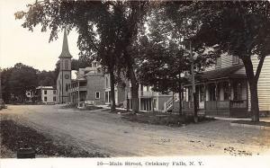 Oriskany Falls NY Main Street Church Stores RPPC Real Photo Postcard