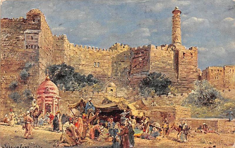 israel jerusalem volksleben vor dem jaffator natives signed