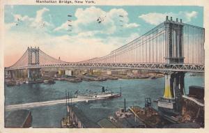 USA, Manhattan Bridge, New-York, 1927 used Postcard