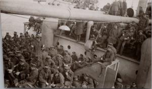 Soldiers on the SS Saturnia Ship Boat Military RPPC Real Photo Postcard E25