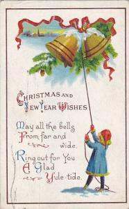 Christmas and New Year Wishes, Person ringing bells, Winter scene, PU-1921