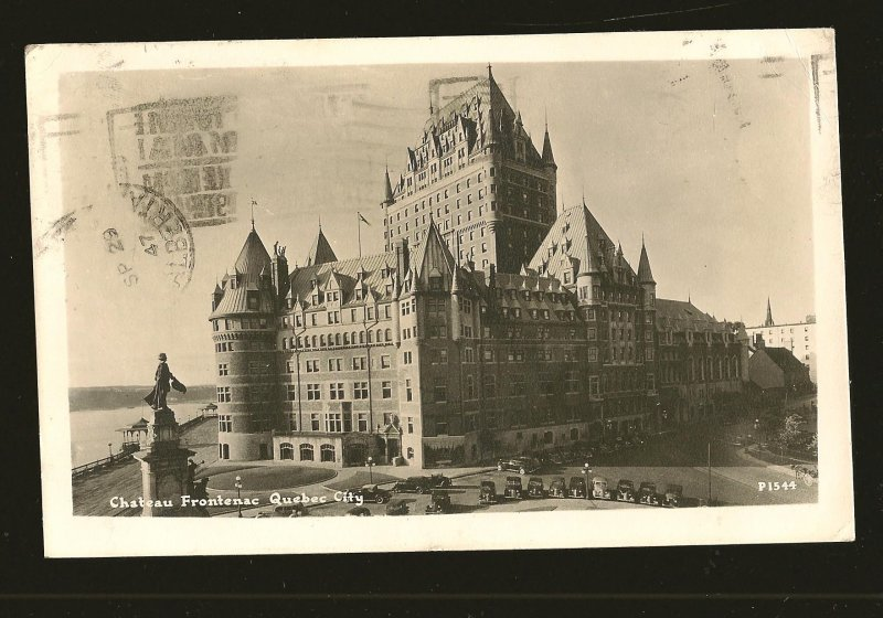 Postmarked 1947 Chateau Frontenac Quebec City Real Photo Postcard