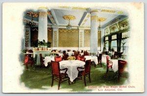 Los Angeles California~Van Nuys Hotel Interior~Corner of Cafe~Windows~c1910 PC