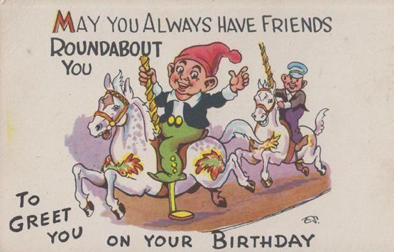 Merry Go Round Ride Friendship Friends Roundabout You Old Fair Comic Postcard