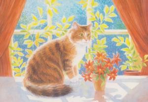 Kizzy In The Sunshine Medici Society Cat Postcard
