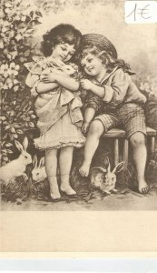 Boyand girl with a rabbit Nice Italian repro of old postcards. Standard size