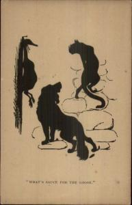 Merry Hearts Silhouette - Dog & Cat w/ Dead Goose For Dinner - Postcard