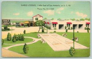 San Antonio Texas~Gable Lodges~Tourist Motel~Shuffleboard Courts~1940s Linen PC