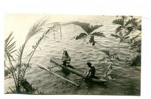 Vintage Postcard RPPC SAMOA Outrigger Canoe topless woman playing guitar
